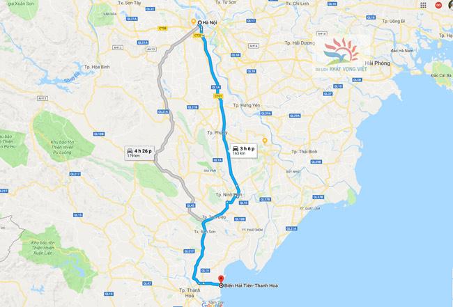 Bản đồ Hà Nội đi Hải Tiến